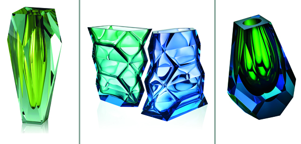 The Gema vase 2965 is £1600, the Polygon vase is £4205, and the Pear Mini Vase is £525