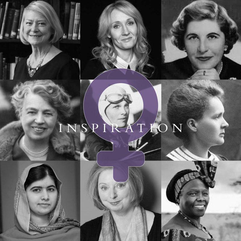 Kate Adie, J.K. Rowling, Baroness Trumpington,Eleanor Roosevelt, Amelia Earhart, Marie Curie, Malala Yousafzai, Dame Hilary Mary Mantel, Wangarĩ Muta Maathai