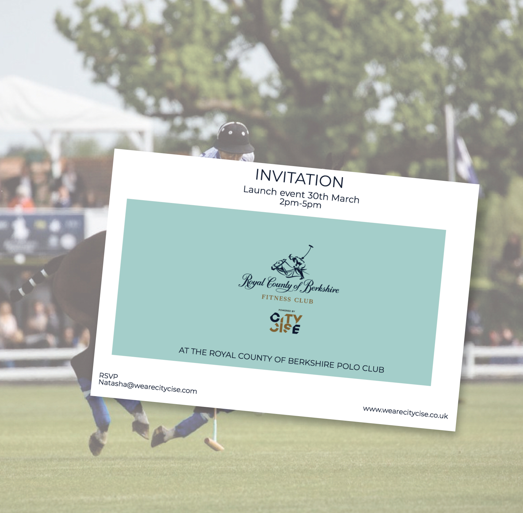 An invitation to the launch event for Royal County of Berkshire fitness club powered by Citycise