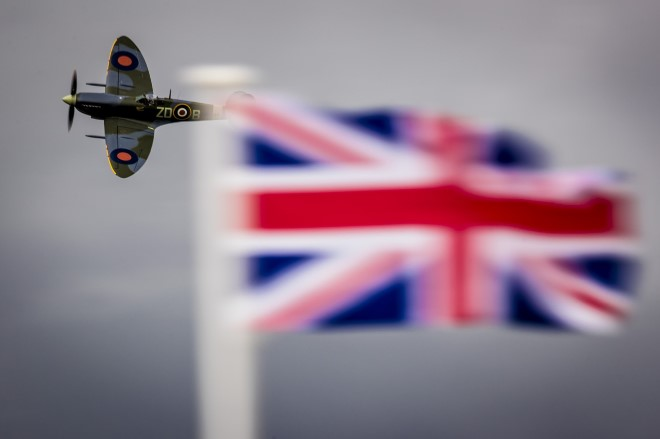A spitfire in the skies over Goodwood