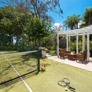 The property includes private tennis courts
