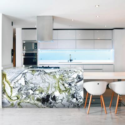 White Beauty Polished Kitchen Island by Cullifords