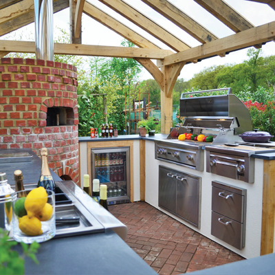 An outdoor kitchen enables alfresco dining all year round