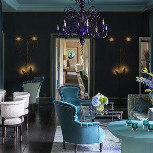 The hallmark of Martin Hulbert Design creativity - The Blue Lounge in The Grove Hotel