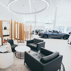 The showroom was designed as a welcoming destination for Bentley owners and automotive enthusiasts alike